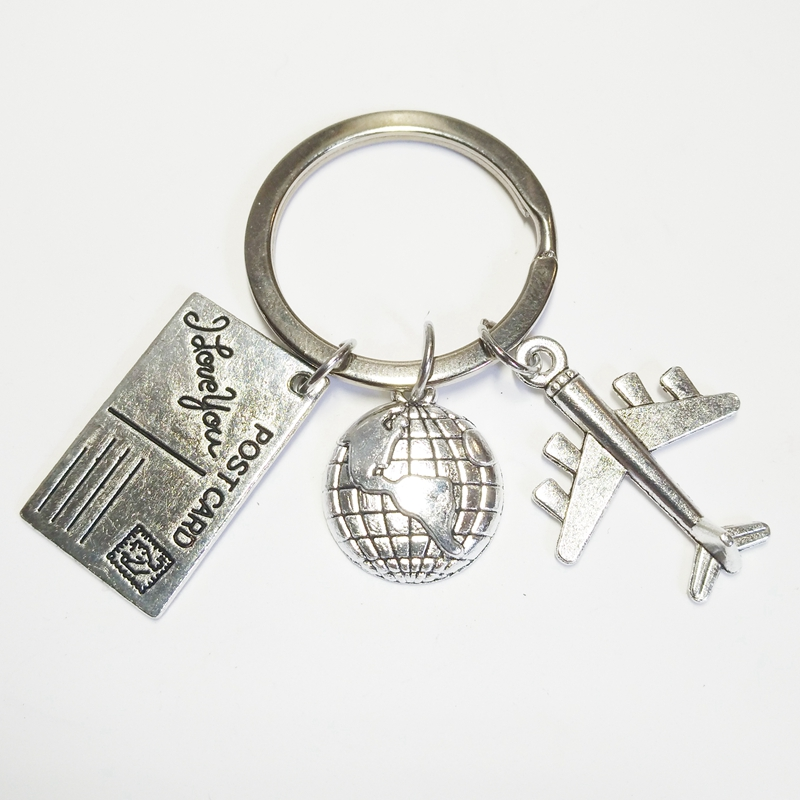 XKXLHJ 2019 Travel Keychain Globe and Airplane Keychain Flight Attendant 39 s Gift Handmade Traveler Jewelry in Key Chains from Jewelry amp Accessories