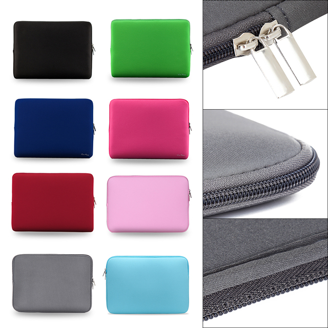 """2018 Fashion New Laptop Bag Zipper Soft Sleeve 11 13 14 15"""" inch Bag Case for MacBook Air pro Ultrabook Notebook tablet Portable"""