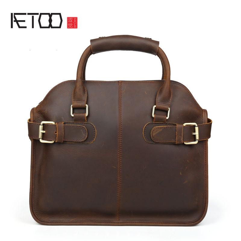 AETOO Classical first layer of cowhide mad horse skin men and women commuter briefcase business handbag shoulder bag aetoo women retro shoulder bag fashion handbags europe and america shoulder bag head layer cowhide mad horse shopping bag