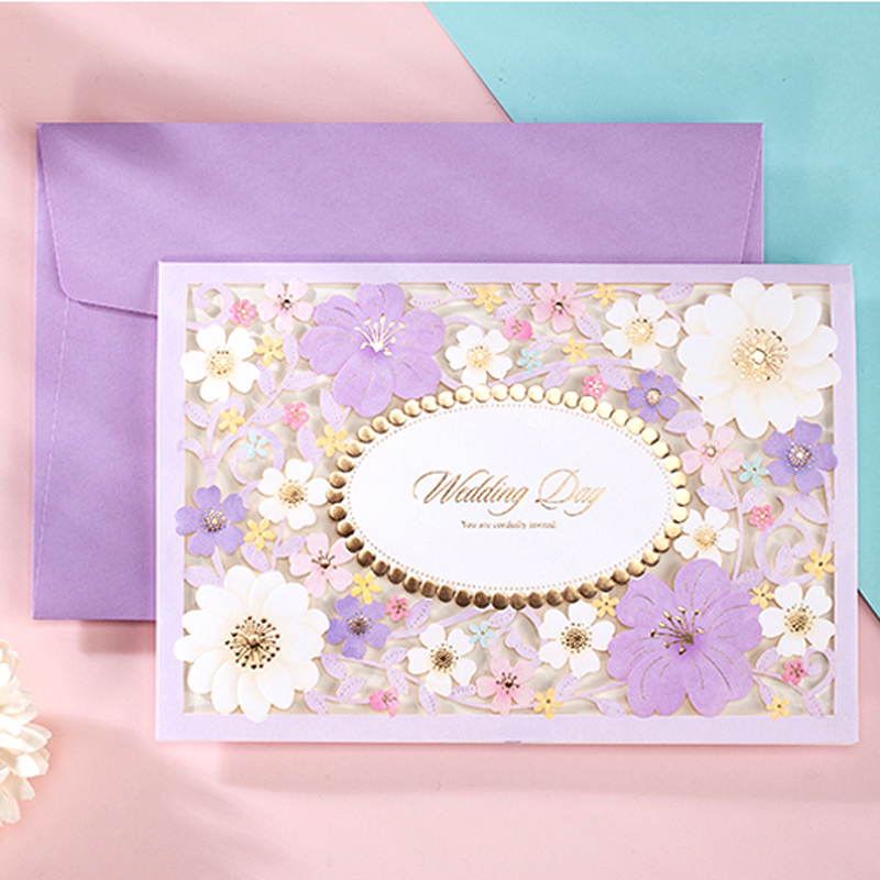 Purple Flower Wedding Invitations: (10 Pieces/lot) Wishmade Royal Gold Foil Wedding