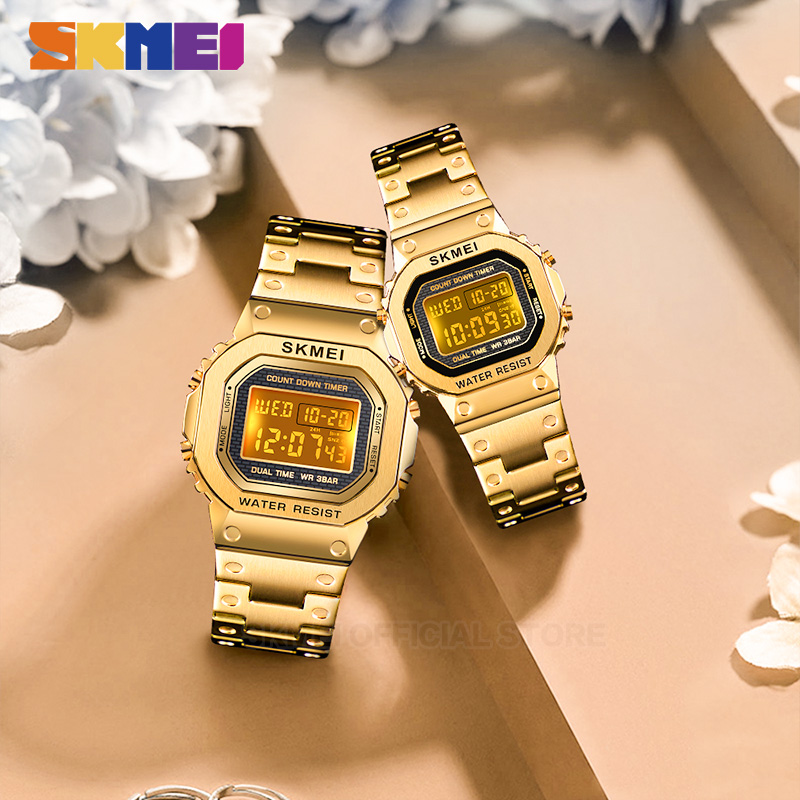 <font><b>SKMEI</b></font> Fashion Digital Watch Men Women Couple Wristwatches 2Time Chrono Watches Waterproof horloges vrouwen mannen <font><b>1456</b></font> 1433 Set image