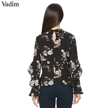 Butterfly and/or Floral Print Vintage Collar Blouse