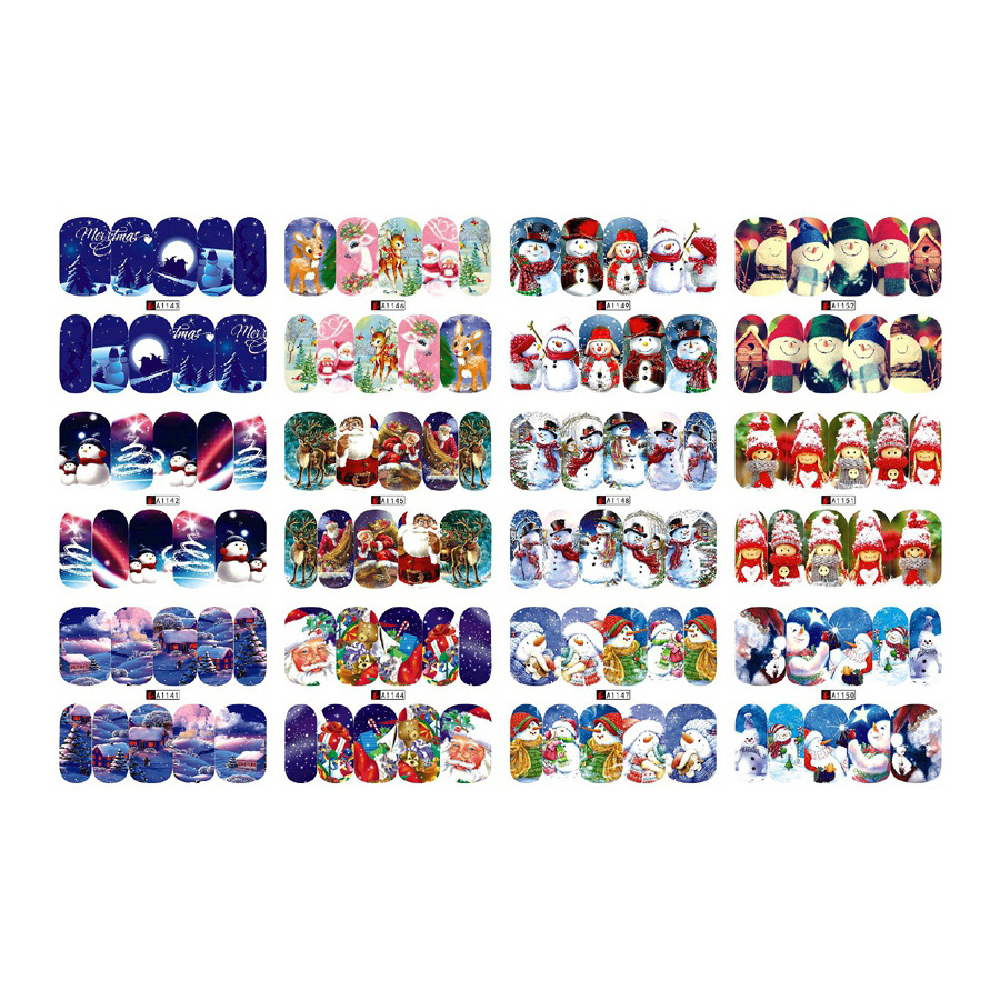 12 Sheets beauty Christmas water transfer nail art stickers decals nails decorations manicure tools Santa Claus snowman design ds300 2016 new water transfer stickers for nails beauty harajuku blue totem decoration nail wraps sticker fingernails decals
