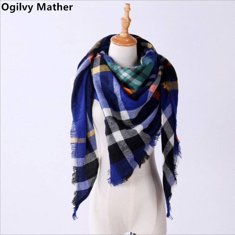 High-quality triangle bandana ashmere Scarf plaid Winter Triangle Scarf For Women blanket scarf Shawls and Scarves 140*140*210CM