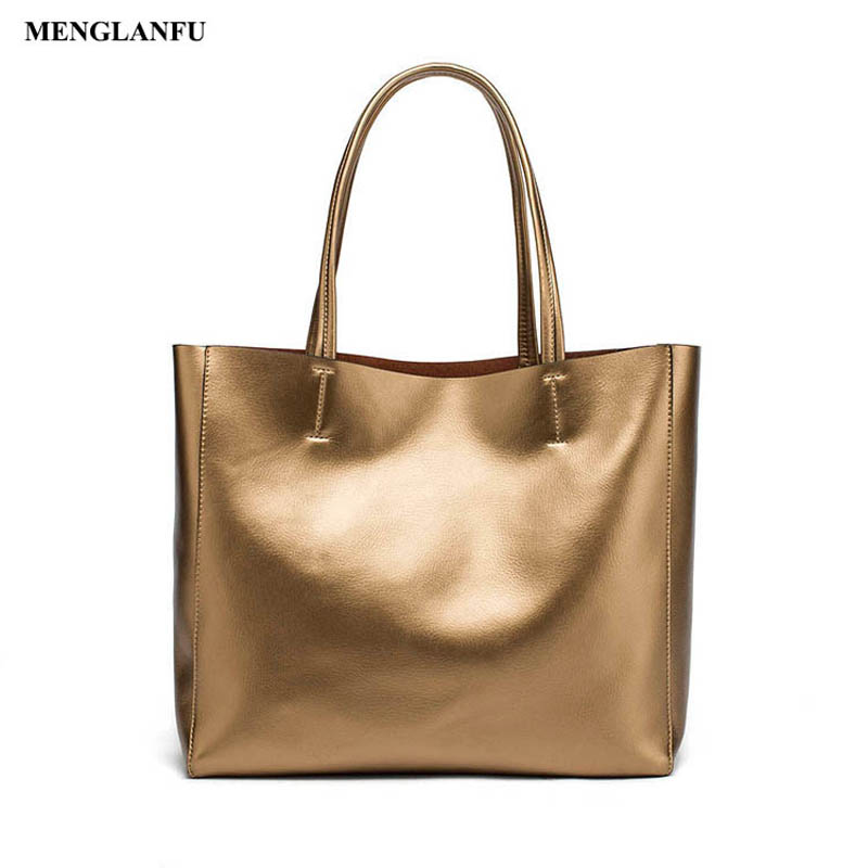 Ladies Gold Handbag Simple Designer Women Big handbags Shoulder bags Fashion Genuine Leather Totes bag large capacity Sac Bags ladies bag 2017 new trend fashion handbags large capacity shopping bag genuine leather bag simple shoulder ladies bag bbh1387