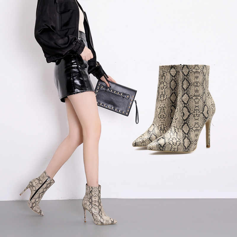 Sexy Ankle Boots Women shoes Snake skin high heels boot Fashion Zip Ladies Short  Booties apricot 59a53b857289
