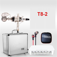 T8 2 anchor external sound card set capacitor microphone broadcast live song Karaoke OK recording equipment send aluminum box