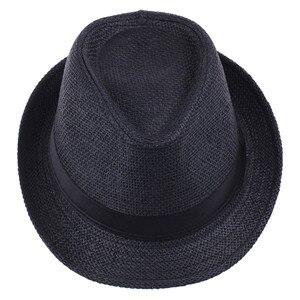 Хит модных продаж унисекс Fedora Мужская Гангстерская шляпа Кепка для женщин Летняя Пляжная шляпа соломенная шляпа-Панама мужские модные крутые шляпы розничная - Цвет: black