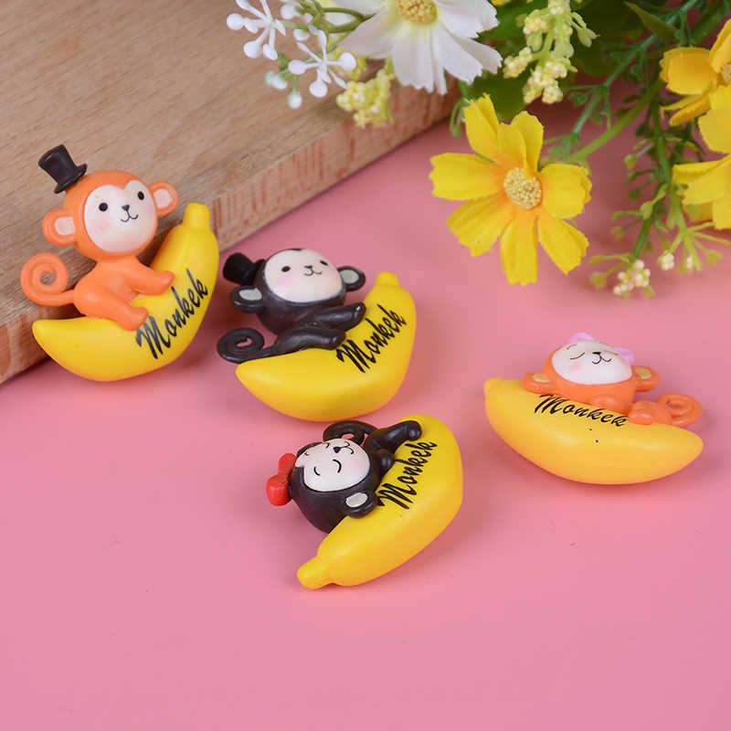 Muz reçine karikatür hayvan maymun heykelcik kek dekorasyon yosun süsleme minyatür figürleri heykeli dekor hediye