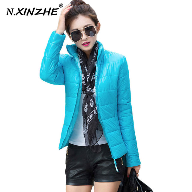 2017 Winter Autumn jacket women stand collar long-sleeve short paragraph thin and light jacket female coat big yards women