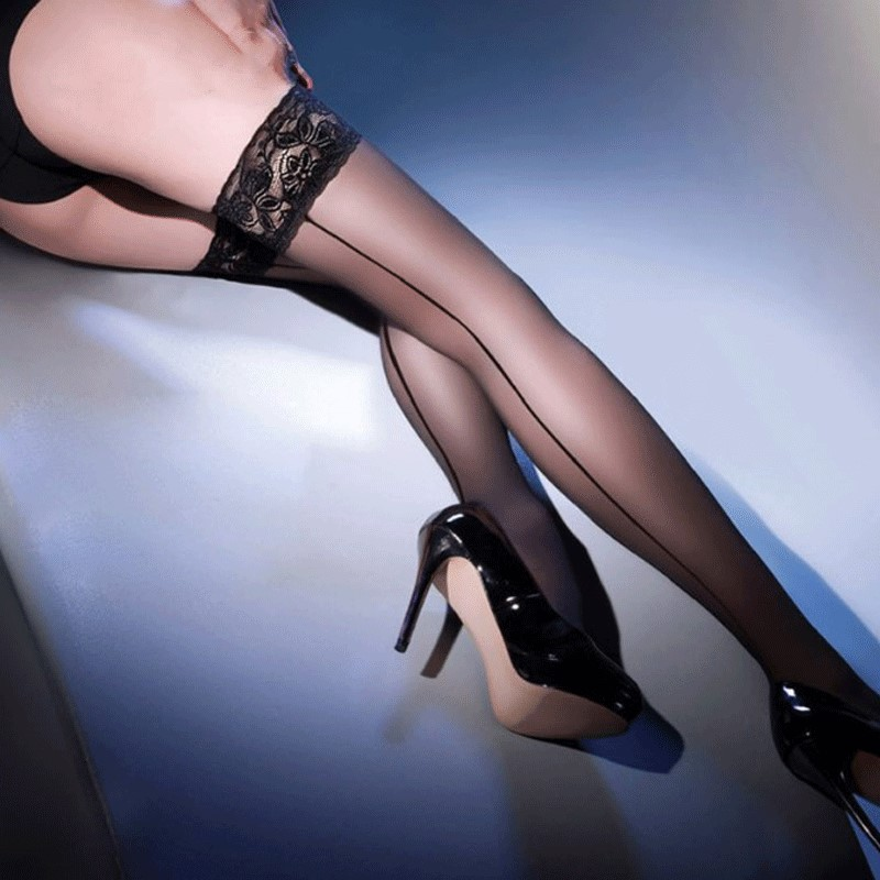 Women's Sexy Stockings Cuban Heel Back Seam Stockings Hosiery Lace UP Thigh High Stockings Pantyhose Female Sexy Lingerie
