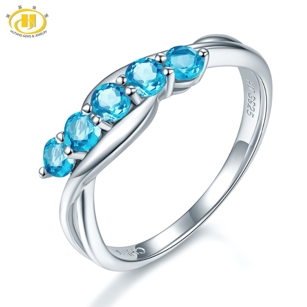 Hutang Stone Jewelry 100% Natural Blue Topaz Gemstone Ring Genuine Pure 925 Sterling Silver Fine Fashion Jewelry For Gift NewHutang Stone Jewelry 100% Natural Blue Topaz Gemstone Ring Genuine Pure 925 Sterling Silver Fine Fashion Jewelry For Gift New