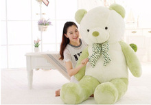 huge new plush white&green Teddy bear toy  big lovely bow bear gift doll about 160cm