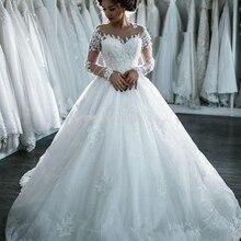FANGDALING 2019 Vintage Ball Gown Wedding Dress long Sleeve