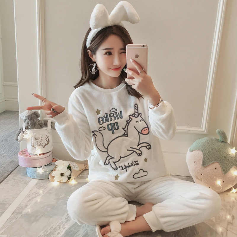 67f8926ff Detail Feedback Questions about 2018 Thick Warm Velour Pajamas Cute ...