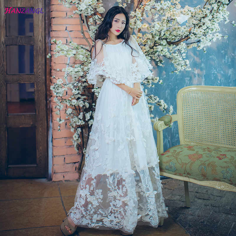 87f20cded378 HANZANGL New Retro Lace See through Butterfly Embroidery Dress Women's Off  Shoulder Light Wedding Travel Long