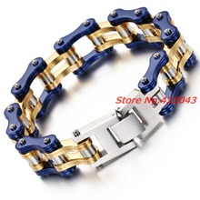 8.66″*16mm Men Jewelry Cool Blue Stainless Steel Silver Gold Bracelets Biker Bicycle Motorcycle Chain Men's Bracelet Accessories