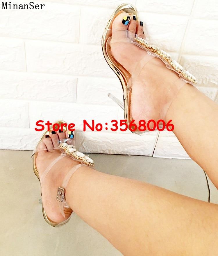 Luxus Marke Offene spitze Mode Stiletto High Heels Schuhe Kristall Verziert T strap Mode Sandalen Schuhe PVC Klar Sexy pumpen-in Hohe Absätze aus Schuhe bei  Gruppe 1