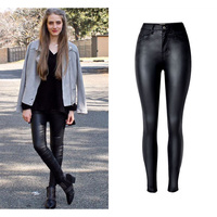 Autumn and winter Women Skinny Stretch Jeans Sexy Leather Moto & Pencil Pants Black Ladies Denim Female Trouses
