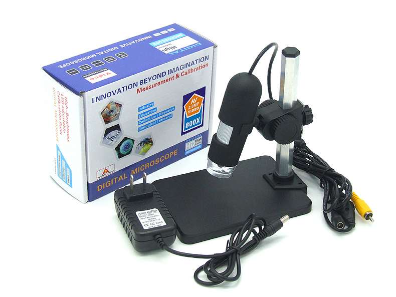 Digital microscope with 7 inch monitor electronic video microscope magnifier 800X + 8 LED light HD 3.6 MP AV output - 3