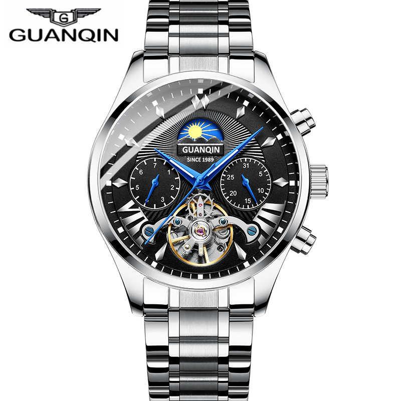 GUANQIN 2019 시계 남성 자동 수영 기계식 남성 시계 탑 브랜드 럭셔리 방수 뚜르 비옹 스타일 relogio masculino