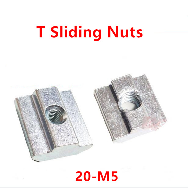 50 Piezas T Ranura Tuerca M4 Cabeza de martillo Ca/ída en acero al carbono Rosca hembra Tuerca en T para perfil de aluminio de 20 series