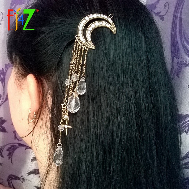2016 Fashion Vintage Luxury Rhinestone Moon Crystal Drop Charms Hair Clips Hairgrip for Women Jewelry Accessories pinzas de pelo