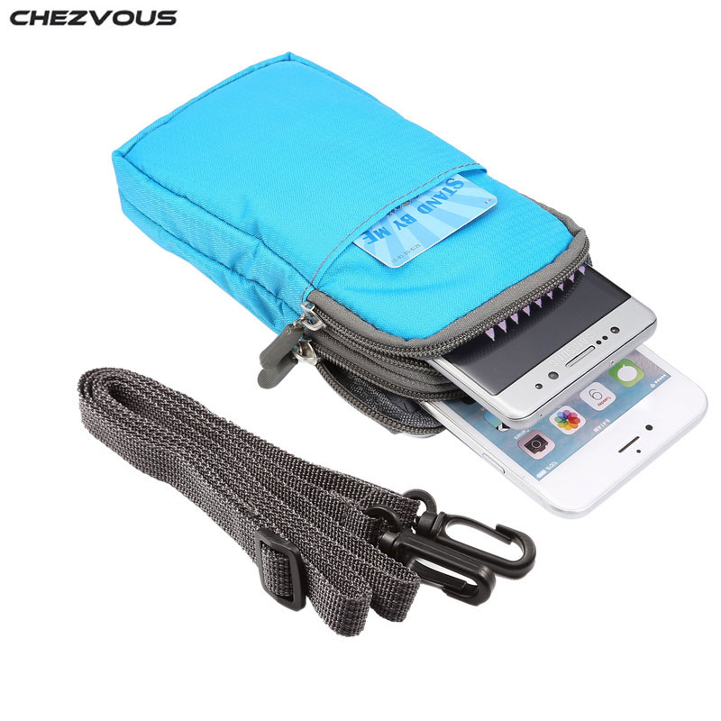 Universal For All Below 6.0 inch Mobile Phones Pouch Outdoor 3 Pockets 2 Zippers Wallet Case Belt Clip Bag 8 colors hot selling