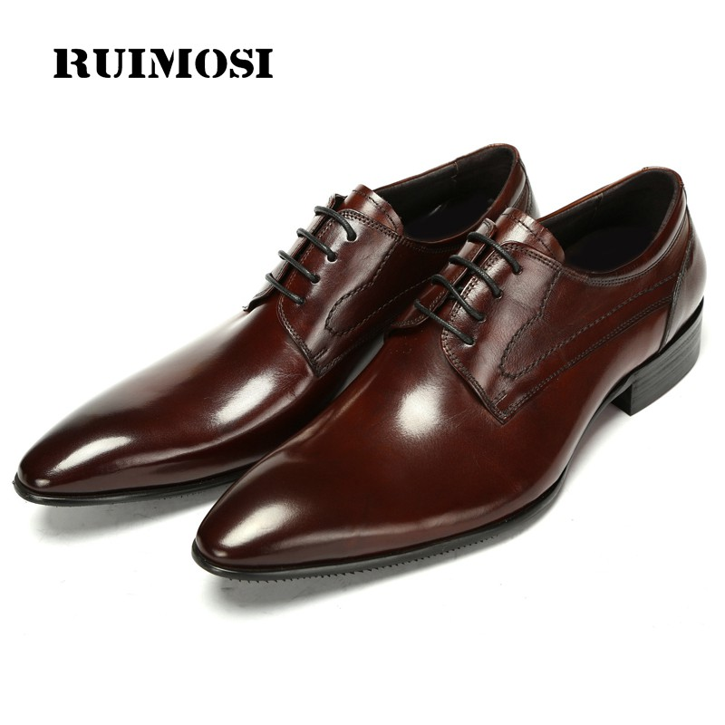 RUIMOSI High Quality Brand Man Dress Shoes Genuine Leather Male Wedding Bridal Oxfords Handmade Pointed Derby Men's Flats CA78