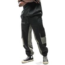 Hip Hop Multi Pockets Color Block Patchwork Cargo Joggers Harem Pants 2019 Men Urban Casual Trousers Sweatpants Male Fashion
