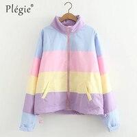 Plegie Rainbow Women Jacket Japanese Harajuku Kawaii Candy Patchwork Color Turtleneck Jacket Thin Windbreaker Chaqueta Mujer