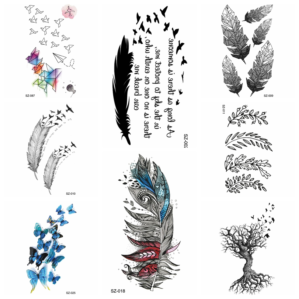 Indians Tribal Temporary Tattoo Stickers Girls Small Feather Fake Tatoos Root Arm Women Waterproof Tatoo Cute Body Art Drawing Temporary Tattoos Aliexpress