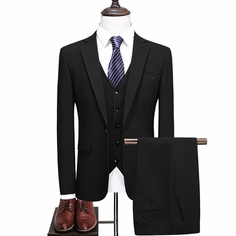 (suit Jacket + Vest + Pants) Business Men's Suit Three-piece Groom Groomsmen Wedding Banquet Dress Classic Boutique Slim Suit