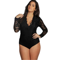 Bodysuit Women Fashion Sexy V Neck Long Sleeve Lace Patchwork Black Scallop Romper Skinny Jumpsuit Plus
