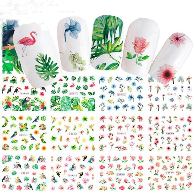12Sheets HOT Flamingo Unicorn Nail Sticker Nail Art 3D DIY Accessory  Fashion LEAF Animal Decals Nail 3fe80246e055