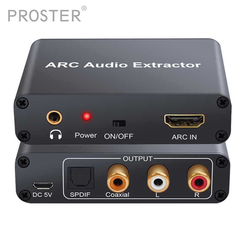 Proster Converter HDMI Audio Adapter DAC ARC L/R Coaxial SPDIF Jack Extractor Return Channel 3.5mm Headphone for TV