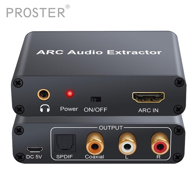 Conversor de proster hdmi adaptador de áudio dac arc l/r coaxial spdif jack extrator canal retorno 3.5mm fone de ouvido para tv