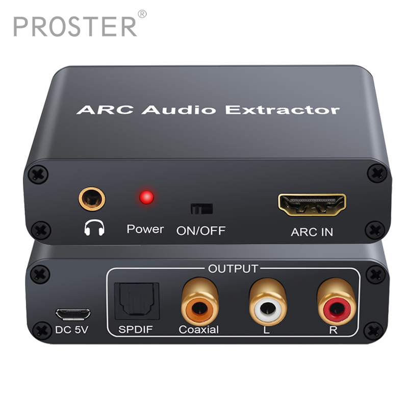 PROZOR Converter HDMI Audio Adapter DAC ARC L R Coaxial SPDIF Jack Extractor Return Channel 3 5mm Headphone for TV