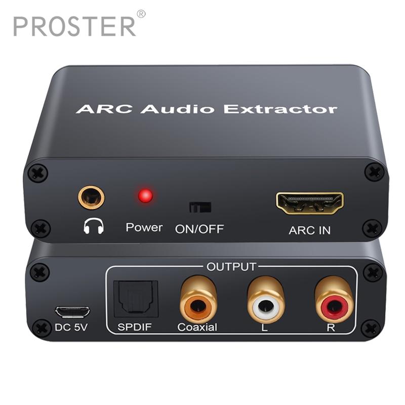 Proster Conversor HDMI Adaptador de Áudio DAC ARCO L/R Coaxial Jack SPDIF Extrator de Canal de Retorno de 3.5mm para Fone de ouvido TV