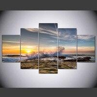 5 bảng điều chỉnh HD in tranh sóng breaking trên shore vải trang trí treo tường art ảnh để living room kn-126