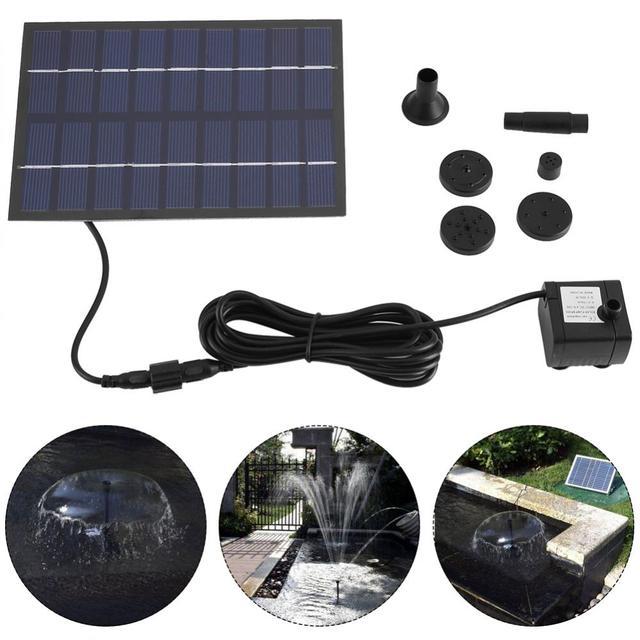 Pompe à eau, 200l/h, avec panneau solaire, pompe à eau, étang, jardin, maison, pompe à panneau solaire noire