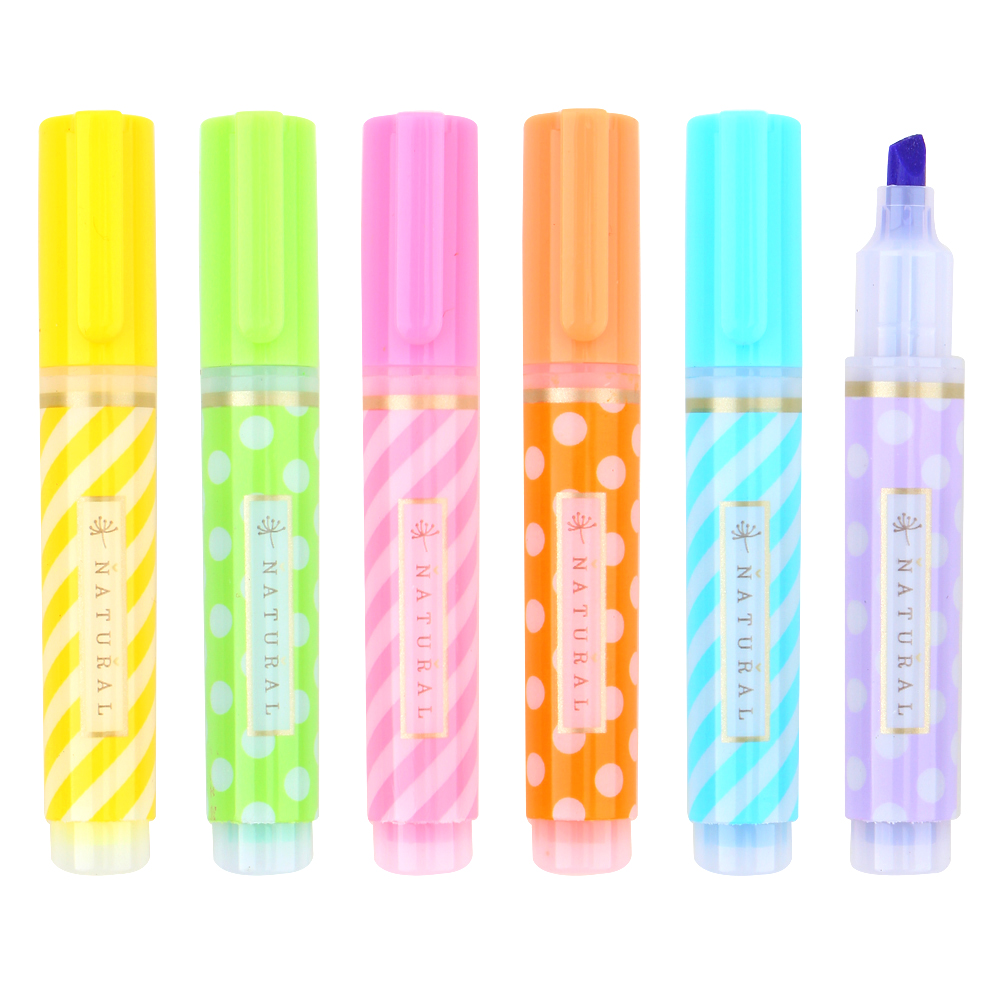6 Colors/box Mini Colorful Cute Dots Candy Watercolor Highlighter Pen Markers Gift Stationery Office School Supplies