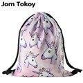 New fashion Women unicorn Backpack 3D printing travel softback women mochila drawstring bag School girls backpacks