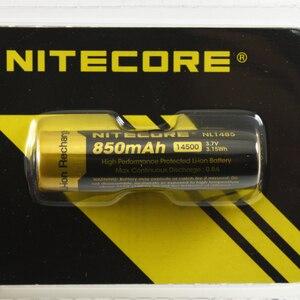 Image 2 - 1 PC Nitecore NL1485 14500 850 mAh 高ドレインバッテリー nitecore 14500 リチウムイオン電池ボタントップと懐中電灯 (1 pc)