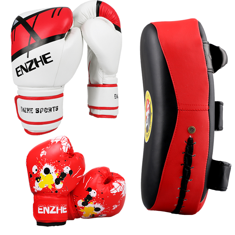 Economy fitness family boxing suite Child gift toy training MMA muay thai fighting boxing gloves Punching Mitts Foot pad target wesing aiba approved boxing gloves 12oz competition mma training muay thai kickboxing sanda boxer gloves red blue