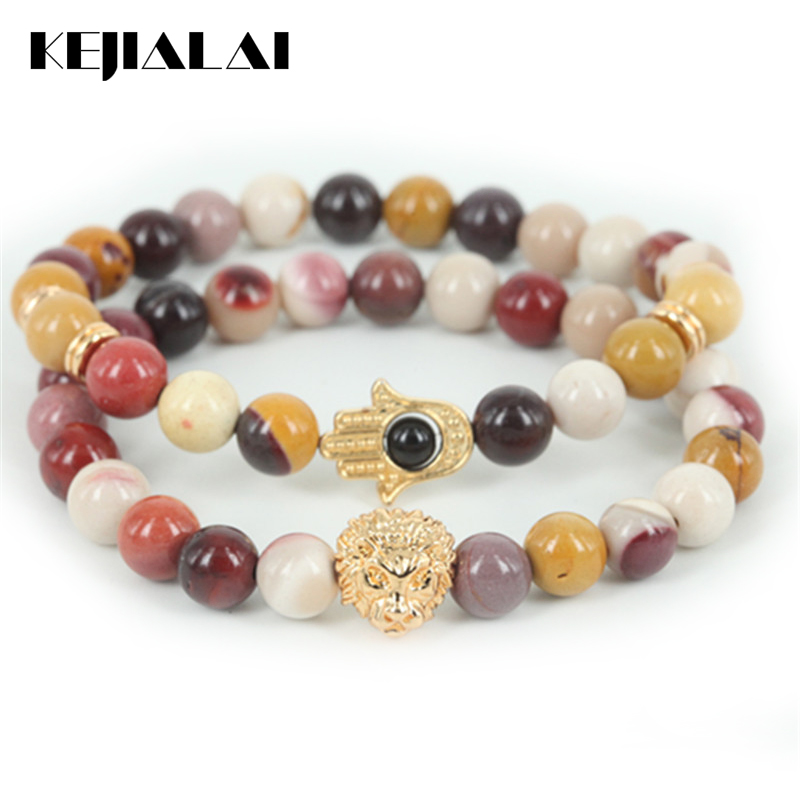 2pcs Beaded 24k Gold Lion Head Men Bracelet Natural Egg Yellow Round Stone Bead Women Hamsa Hand Bracelet Fine Jewelry As A Gift
