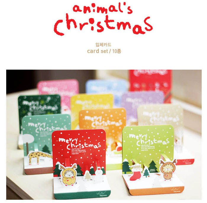 6 sets Lovely Animal Christmas Card with Envelope Set, 3D Christmas ...