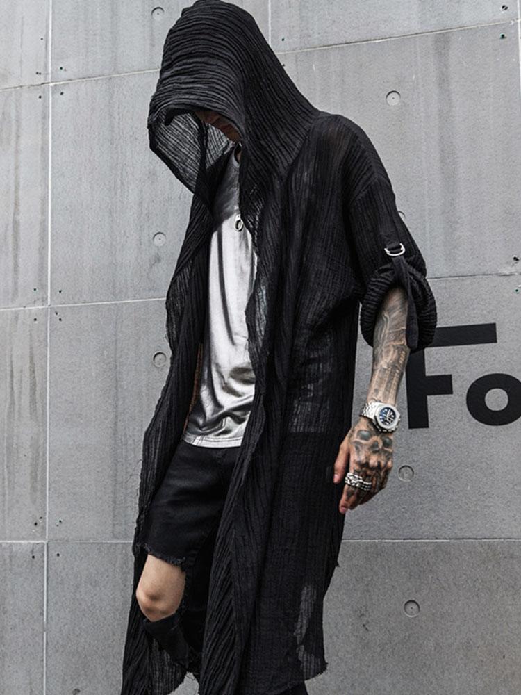 b33d20a92b88 Мужская Повседневная рубашка с длинными рукавами и капюшоном, пальто,  Мужская Уличная Хип-хоп панк длинная стильная рубашка, кардиган, курт.