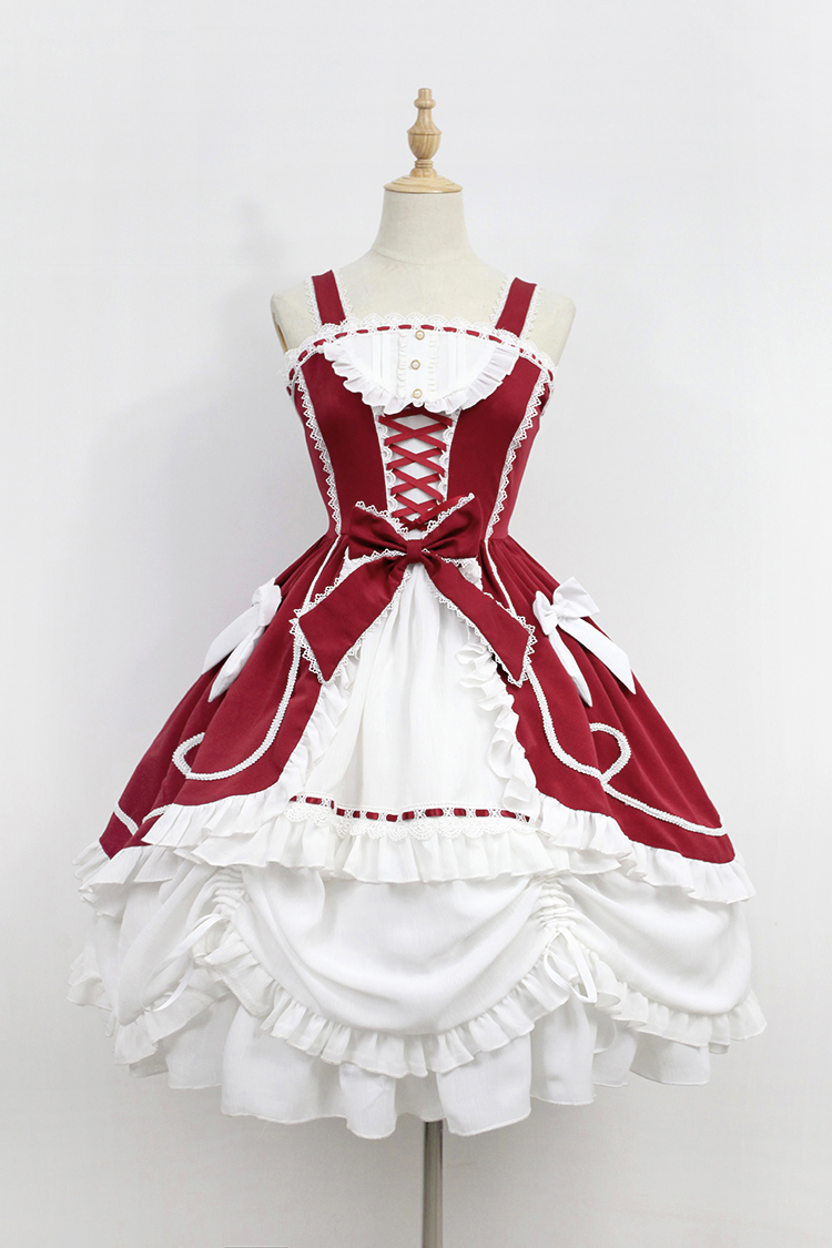 Antique Doll ~ Contrast Color Open Front Lolita JSK Dress with Pick up Skirt by Soufflesong contrast collar foldover front dress