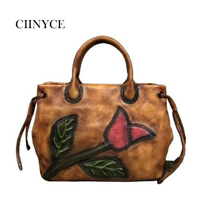 New Fashion Brand Designer Nature Skin Cow Leather Women Handbag Big Messenger Cross body Flower Shoulder Female Tote Bag women tote vintage female cow leather handbag designer brands shoulder crossbody bag embroidered messenger cross body bags purse